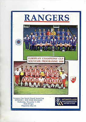 RANGERS v RED STAR BELGRADE  1990/1 + match statistics sheet.