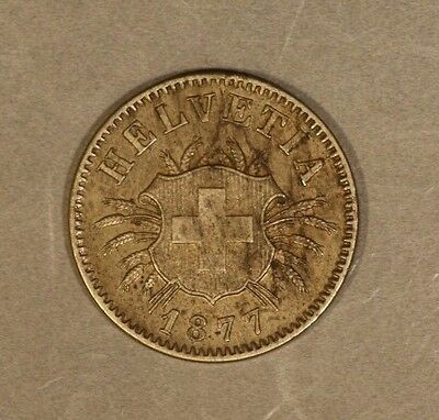 1877B Switzerland Silver 5 Rappen High Quality !   ** FREE US SHIPPING **
