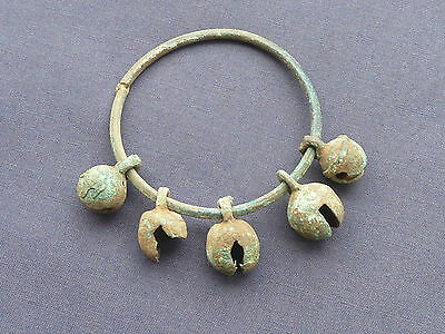 Ancient Bronze Bangle With 5 Bells
