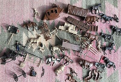 Lot 1/48 Scale Western Figures Pioneers Cowboys Diorama Carriage Horse OXEN ~~