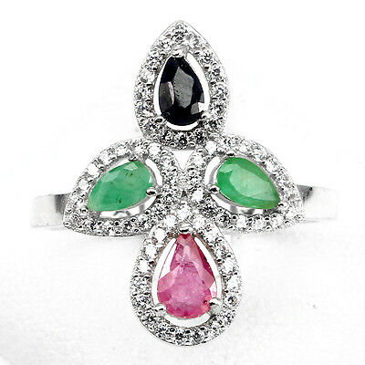 Elegnat Natural Pear Emerald Ruby Sapphire W Cz 925 Sterling Silver Ring Size 8