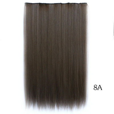 "20"" 55g 5Clips in Hair Extensions straight Heat resistent synthetic hair #8A"