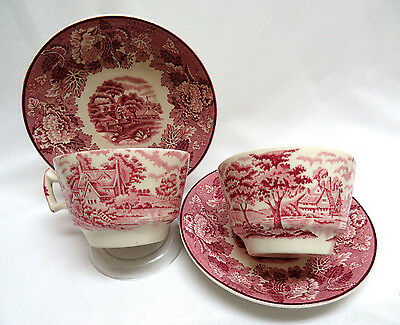 2 Piece Enoch Woods England ENGLISH SCENERY Pink Red Transferware Cups & Saucers