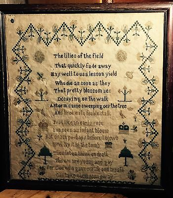 Beautiful  19th c Antique Beautiful  Verse Sampler. The lilies of the field