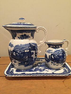 Vintage blue and white transferware  pitcher set/ chocolate pot  from japan