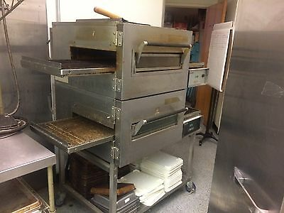 LINCOLN 1162 DOUBLE STACK IMPINGER OVENS (ELECTRIC) with roll cart