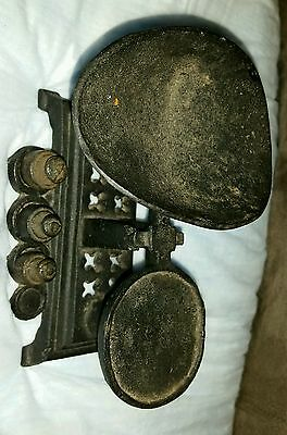 0326-Rare Antique Salesman Sample Scale  With Weights Cast Iron Candy Toy