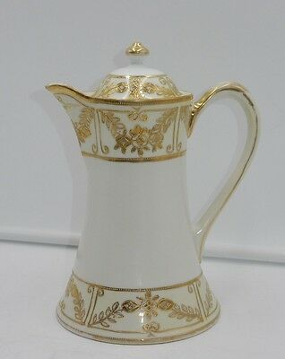 "ANTIQUE 1910s ""M"" NIPPON HAND-PAINTED GOLD 8.5"" PORCELAIN COFFEE / CHOCOLATE POT"