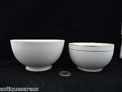 2 Antique Pudding Bowls Royal Worcester  And  2Nd With  Pink British Rd  Mark