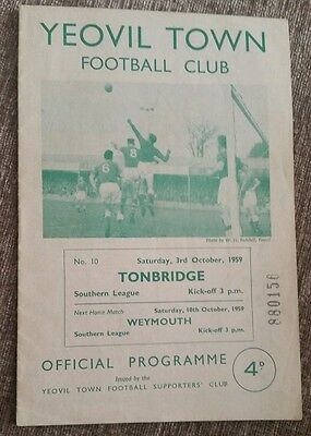 Yeovil Town v Tonbridge Programme 03/10/59