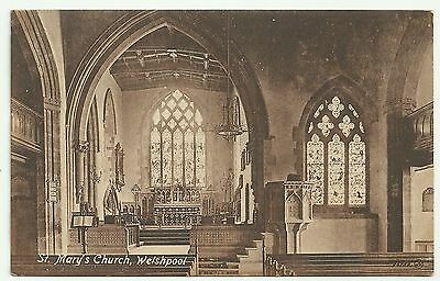 Montgomeryshire postcard  Welshpool St Mary's  Church interior