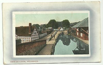Montgomeryshire postcard  Welshpool view on canal