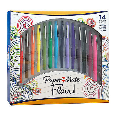 Paper Mate Flair Porous Point Pens, Medium Point, Assorted Colors, Pack of 14
