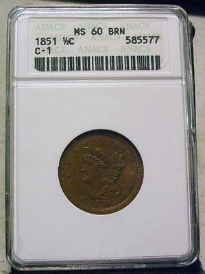 1851 Braided Hair Half Cent In Anacs  Ms60 Bn C-1-  Id# Pp780