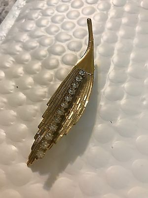 Gorgeous Vintage Hair Clip Barrette Gold Rhinestone Leaf Accent Flapper Style