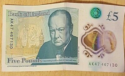 NEW POLYMER £5 FIVE POUND NOTE, SERIAL NUMBER AK47, Bank of England UK
