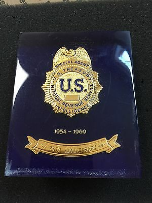 US Treasury Internal Revenue Service Intelligence Badge in Lucite