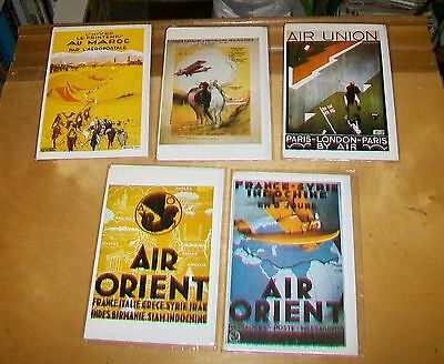 AIR FRANCE POSTERS CARDS. Editions ARNO. Blank cards. New condition (5) 1923-32
