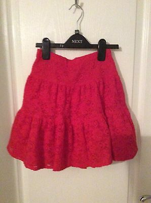 BNWT Girls TU Broderie Anglaise Red Lined Elasticated Waist Skirt Age 12 Years