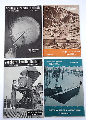 Lot of 5 IssuesSouthern Pacific Bulletin,  1950's-60's