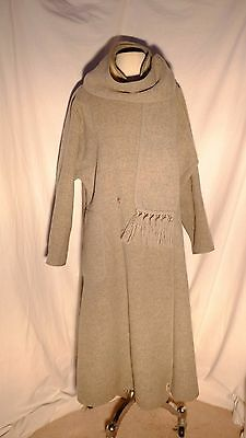 Vtg Retro Wetherall Gray Cream Reversible Wool Coat With Scarf Made in England S