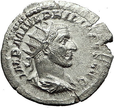 PHILIP I 'the Arab' 245AD Silver Authentic Ancient Roman Coin Security i59470