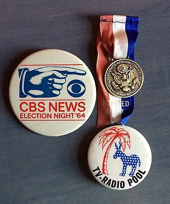 Rare CBS News 1964 Election Night Button And More