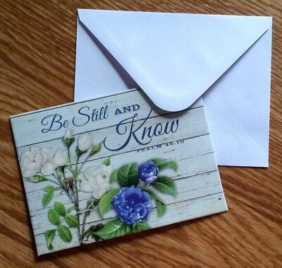 Set of 6 Blank Notecards & Envelopes ~  Be Still and Know Inspirational Roses