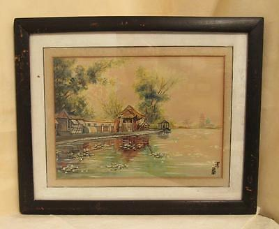 VINTAGE ORIGINAL JAPANESE WATERCOLOR LANDSCAPE PAINTING ca. 1950`s SIGNED?