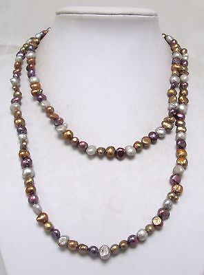 Very long vintage cultured pearl necklace