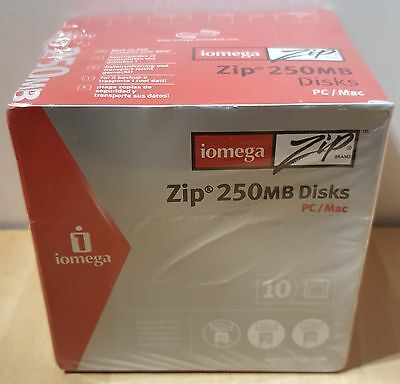 Iomega Zip 250MB Disks for PC/Mac - 10 Pack - New and Sealed