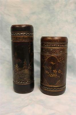 "Pair Bamboo Wood of antique Japanese Hand Decorated Tea Containers 9"" & 7.5"""