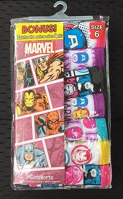 New! 7 Pairs Girlshorts Marvel Size 6 Little Girls Cotton Underwear Panties