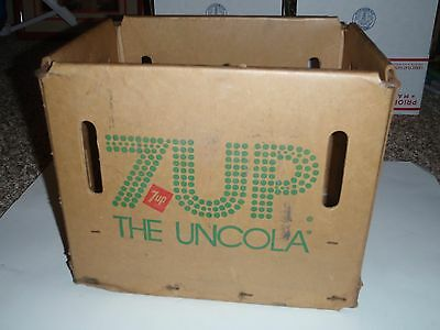 Vintage 7-UP Cardboard Plastic Coated Carton Box Soda Carrier Bottles 1977