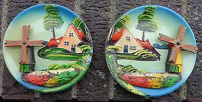 2 vintage wooden plates wall decor Holland working windmills