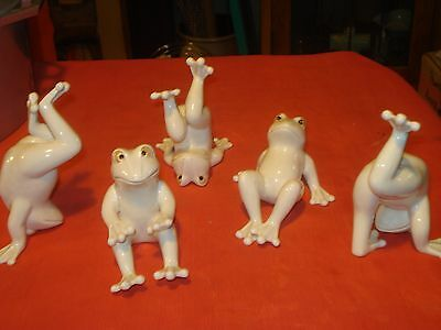 Fitz & Floyd Set of 5 Tumbling Acrobatic Whimsical Porcelain Frogs-Japan