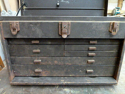 Rare Rusty Hard To Find Vintage Kennedy Metal Machinest Tool Box/ 7 Drawers
