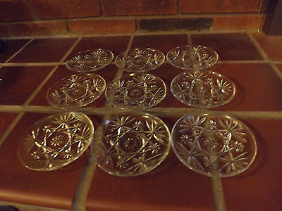 "Vintage Anchor Hocking Prescut 4.5"" Saucers. Set of 9. Excellent Condition."