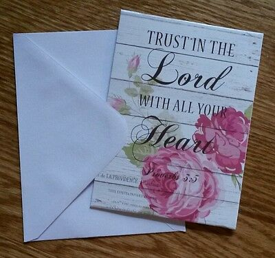 Set of 6 Blank Notecards & Envelopes ~  Trust In The Lord...Inspirational Roses