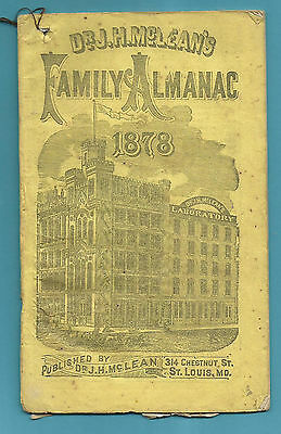 1878 McLEAN's FAMILY ALMANAC,  Smiley Perry, Russellville KY