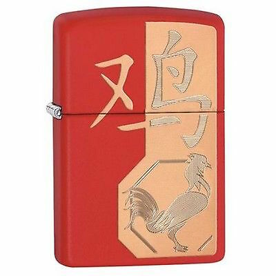 Zippo Windproof Red Matte Year Of The Rooster Lighter, 29259, New In Box