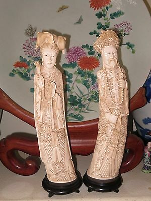 Chinese Carved Resin Figures of Emperor and Empress Beautiful 17 inches tall
