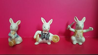 3 Lot Set Easter Porcelain Rabbits with Musical Instruments Figurines
