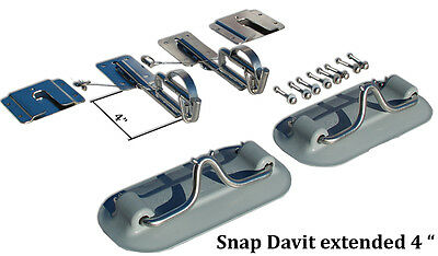 """Snap Davits for inflatable boat & swim platform w Quick release kit Extended 4"""""""