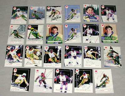 (22) Canadian Olympic Team 1992 Winter Olympic Signed Alpine Ski Cards