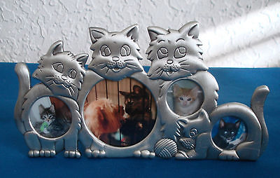 "4 Section CAT FRAME Pewter/Silver Tone METAL 3 3/4"" x 7"" - FREE SHIPPING"