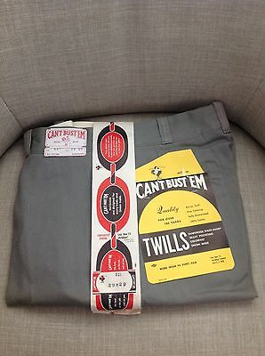 Vintage Can't Bust 'Em Lee Union Made 50's 60's Workwear Gray Pants Sanforized
