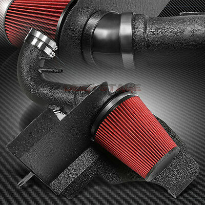 Black Crinkle Coated Cold Air Intake Pipe+Heat Shield For 11-14 Mustang 5.0L V8