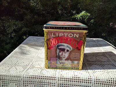 "Lipton tea 1990 tin canister square 100 year anniversary 4.5"" x 5"""