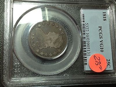 1818  PCGS  VG-10   Capped Bust Quarter   Nice Coin